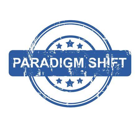 paradigma: Paradigm Shift sello negocios con estrellas aisladas sobre un fondo blanco. Foto de archivo