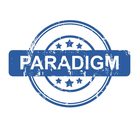 paradigma: Paradigma sello negocios con estrellas aisladas sobre un fondo blanco.