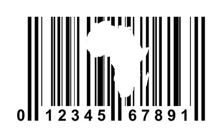 tagging: Africa shopping bar code isolated on white background.