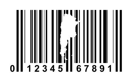 bar codes: Argentina shopping bar code isolated on white background. Stock Photo