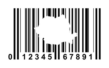 Romania shopping bar code isolated on white background. photo