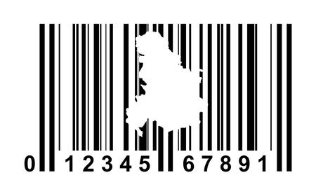serbia and montenegro: Serbia and Montenegro shopping bar code isolated on white background.