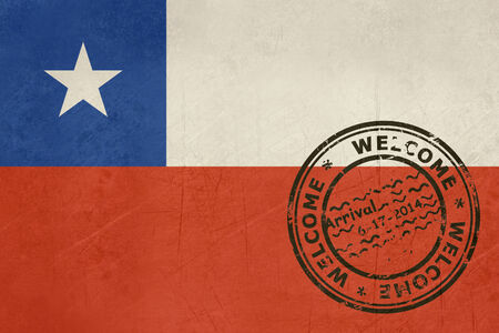 chile flag: Welcome to Chile flag with passport stamp