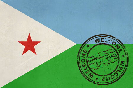 djibouti: Welcome to Djibouti flag with passport stamp