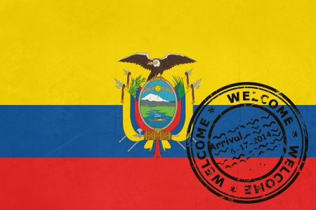 Welcome to Ecuador flag with passport stamp photo