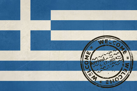 greece flag: Welcome to Greece flag with passport stamp