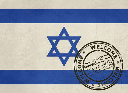 israel passport: Welcome to Israel flag with passport stamp