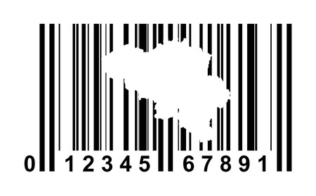 Belgium shopping bar code isolated on white background. photo