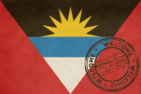 antigua flag: Welcome to Antigua and Barbuda flag with passport stamp.