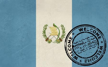 bandera de guatemala: Bienvenido a Guatemala con bandera de sello en el pasaporte Foto de archivo