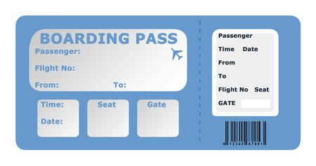 Aircraft boarding pass isolated on a white background.