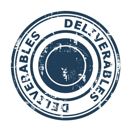 deliverables: Deliverables concept stamp isolated on a white background.
