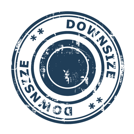 downsize: Downsize concept stamp isolated on a white background.