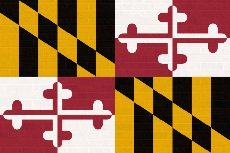 maryland flag: Maryland state flag of America on brick wall, isolated on white background.