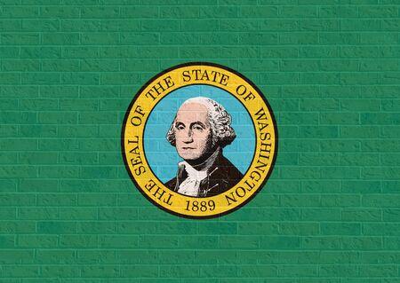 george washington: Washington state flag of America on brick wall, isolated on white background.