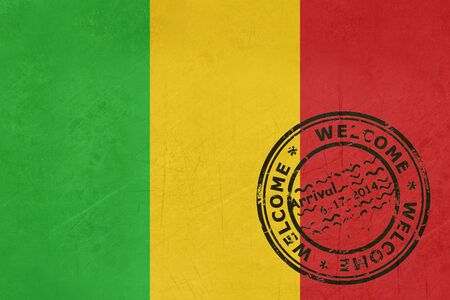 mali: Welcome to Mali flag with passport stamp