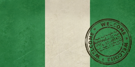 Welcome to Nigeria flag with passport stamp  photo