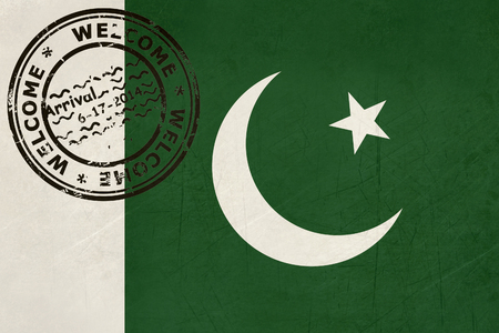 pakistan flag: Welcome to Pakistan flag with passport stamp