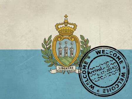 san marino: Welcome to San Marino flag with passport stamp  Stock Photo