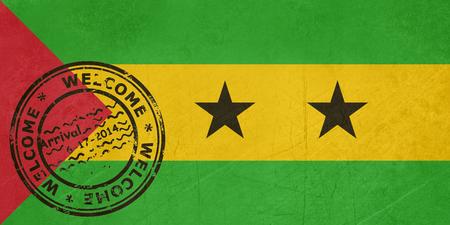 principe: Bienvenido a Santo Tomé y Príncipe, marca con sello en el pasaporte Foto de archivo
