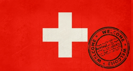 Welcome to Switzerland flag with passport stamp  photo