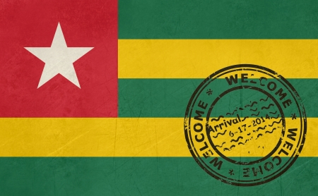 togo: Welcome to Togo flag with passport stamp