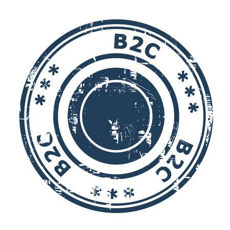 b2c: B2C concept stamp concept stamp