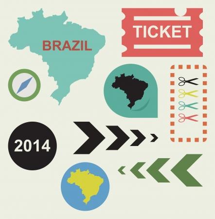 Brazil 2014 flat web design icons  photo