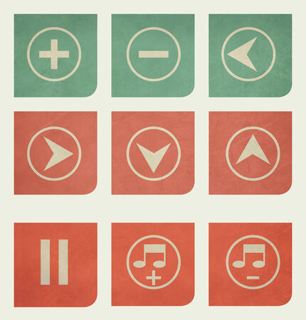 Flat design music buttons with grunge effect photo