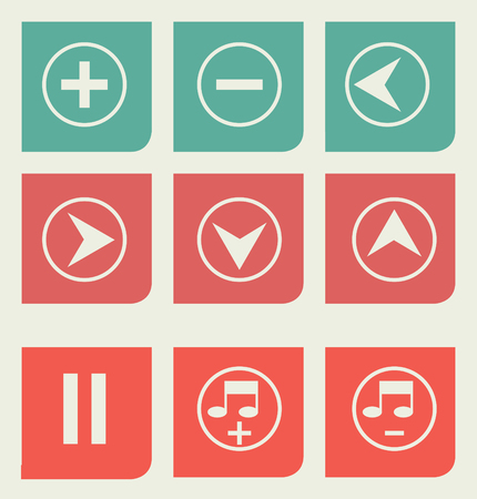 Set of flat web design music buttons. photo
