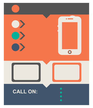 Flat design web page background with mobile telephone and copy space. photo