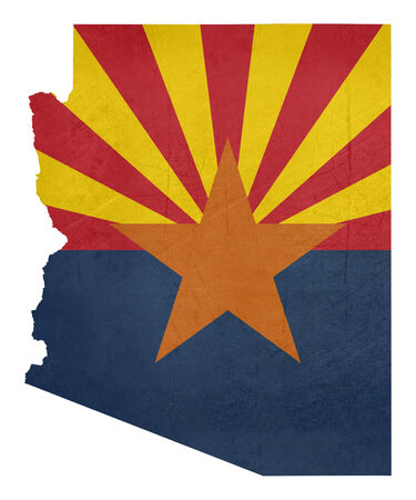 Grunge state of Arizona flag map isolated on a white background, U.S.A. photo