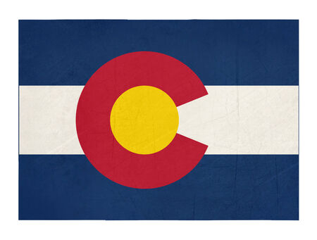 colorado flag: Grunge state of Colorado flag map isolated on a white background, U.S.A.  Stock Photo