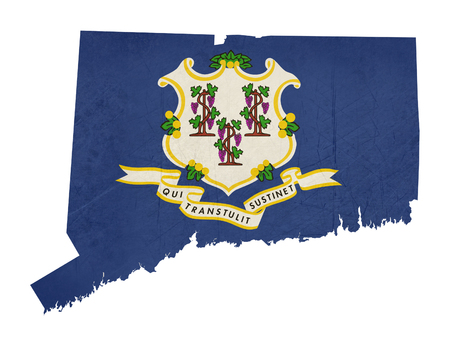 State Of Connecticut Flag Map Isolated On A White Background - Us state flag map