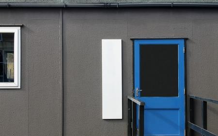 prefabricated: Mobile prefabricated classroom in secondary school.