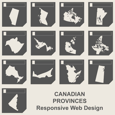 Set of Canadian provinces responsive flat web design map buttons  photo