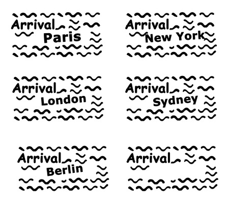 Set of passport stamps isolated on a white background. photo
