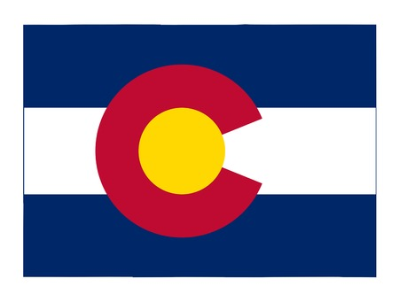 colorado flag: State of Colorado flag map isolated on a white background, U.S.A.
