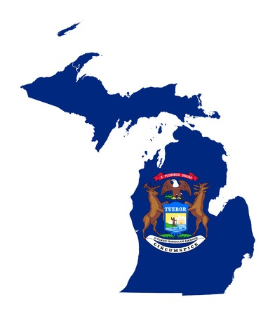 State of Michigan flag map isolated on a white background, U.S.A.  photo