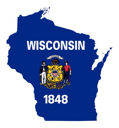 wisconsin flag: State of Wisconsin flag map isolated on a white background, U.S.A.