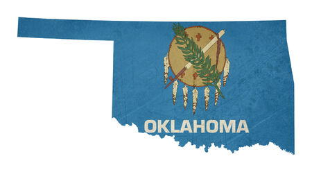 oklahoma: Grunge state of Oklahoma flag map isolated on a white background, U.S.A.  Stock Photo