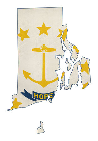 Grunge State Of Rhode Island Flag Map Isolated On A White Background U S A Stock Photo