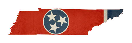 Grunge state of Tennessee flag map isolated on a white background, U.S.A.  photo