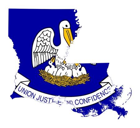 louisiana flag: State of Louisiana flag map isolated on a white background, U.S.A.