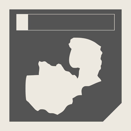 zambia: Zambia map button in responsive flat web design map button isolated with clipping path.