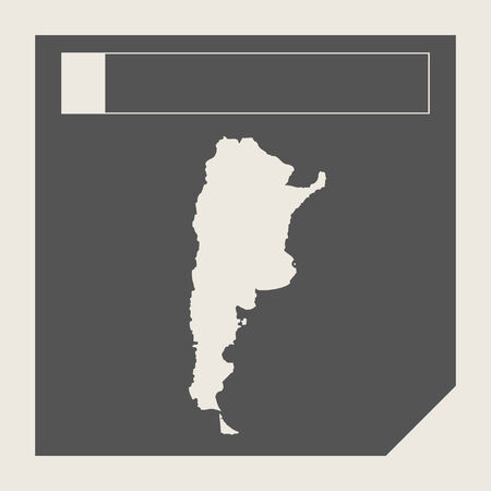 map of argentina: Argentina map button in responsive flat web design map button isolated with clipping path. Stock Photo