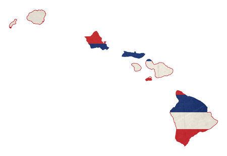 hawaii flag: State of Hawaii flag map isolated on a white background, U.S.A.  illustration; graphical