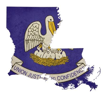 louisiana flag: Grunge state of Louisiana flag map isolated on a white background, U.S.A.