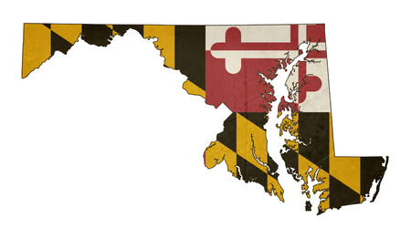 maryland flag: Grunge state of Maryland flag map isolated on a white background, U.S.A.