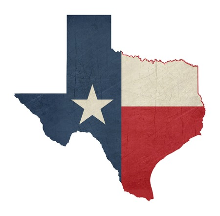 Grunge state of Texas flag map isolated on a white background, U.S.A. Standard-Bild